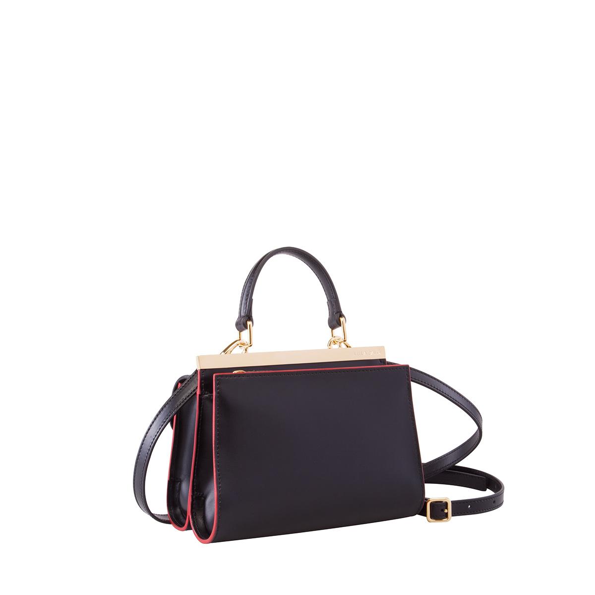 Wavy Bag Clutch, Nero-Rosso