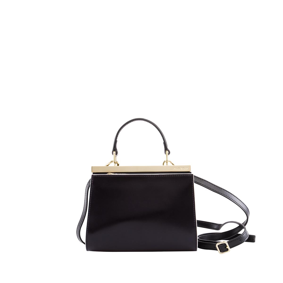 Wavy Bag Clutch, Nero-Bianco