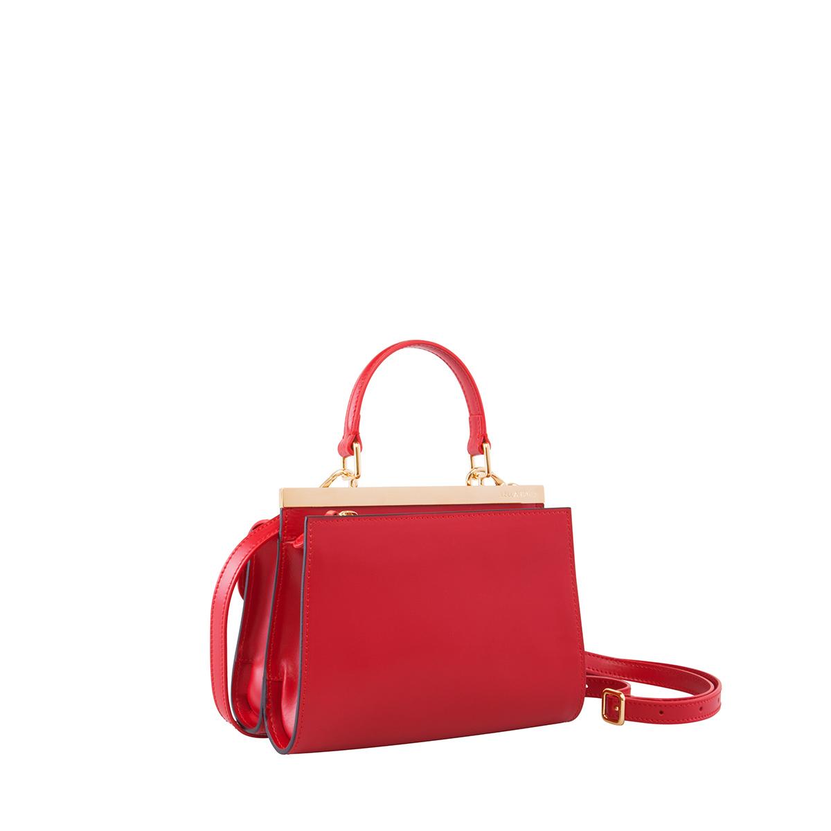Wavy Bag Clutch, Rosso-Nero