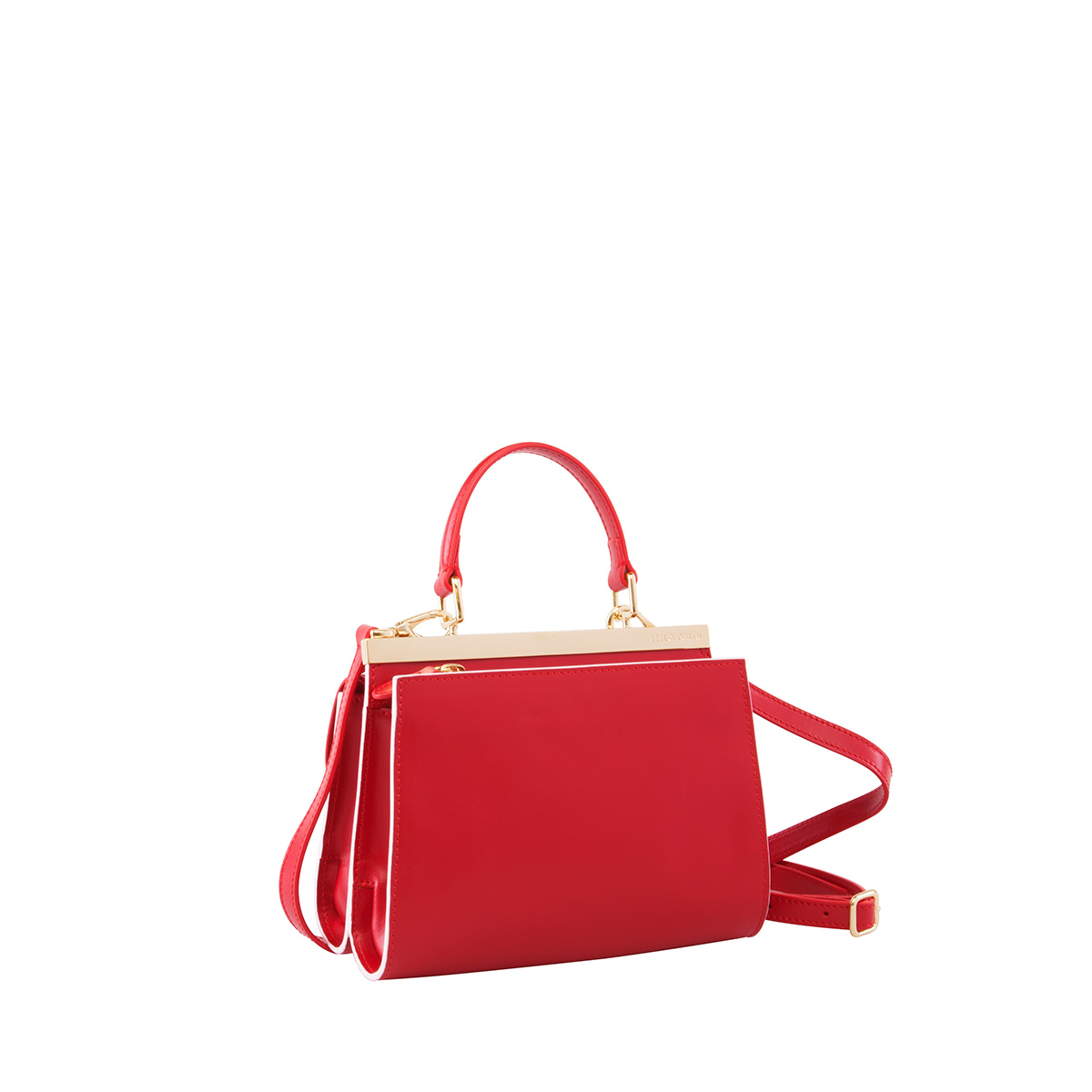 Wavy Bag Clutch, Red-White