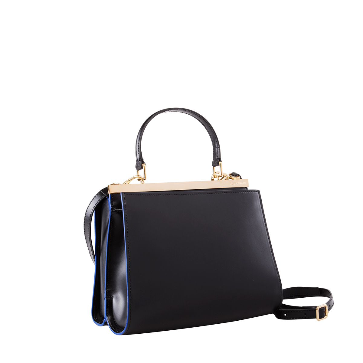 Wavy Bag Shoulder, Black-Blue