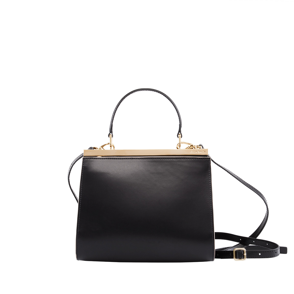 Wavy Bag Shoulder, Black-Leather