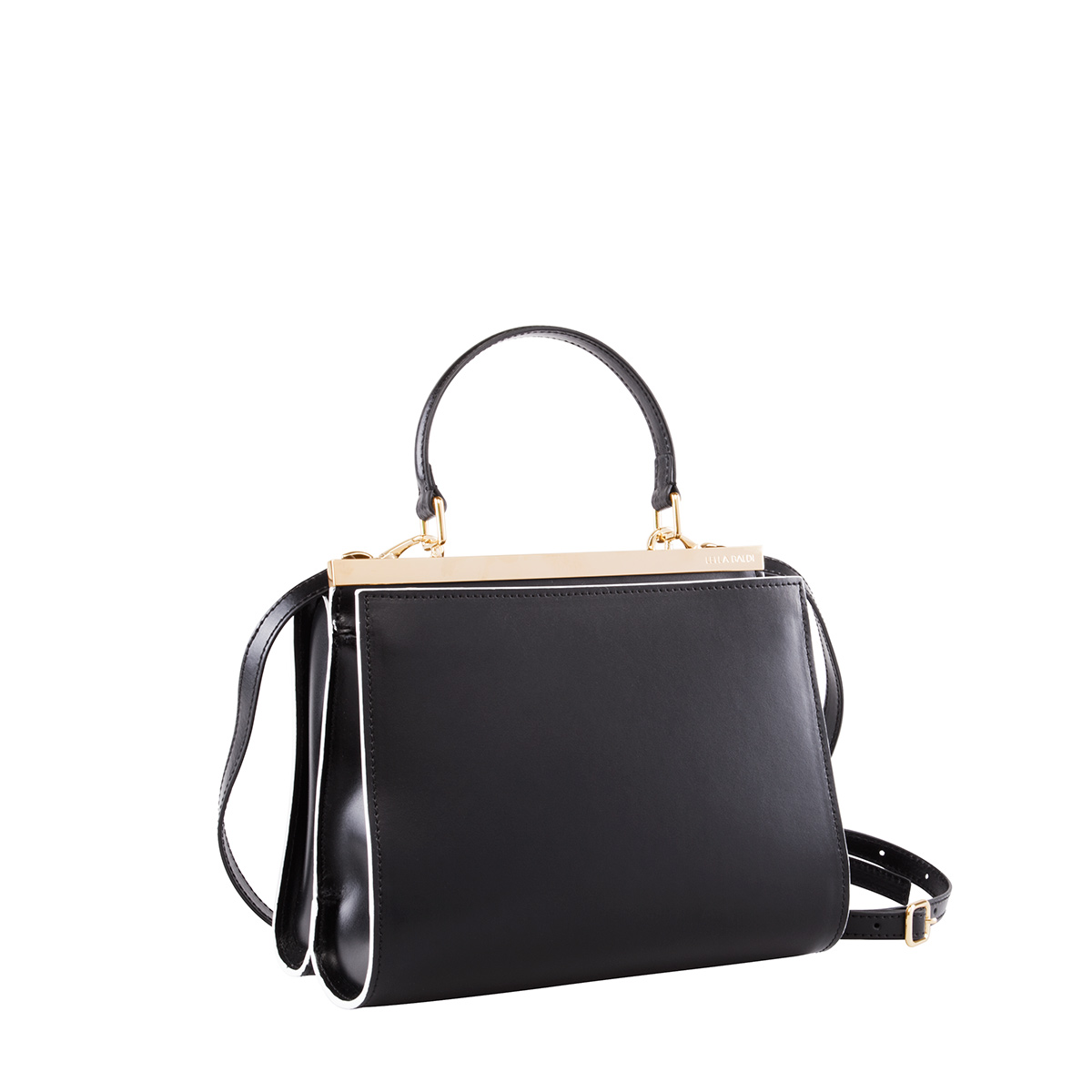 Wavy Bag Shoulder, Nero-Bianco